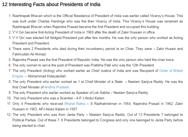 Interesting fact about president of india