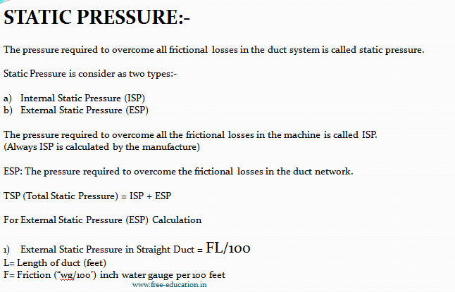 Static Pressure in duct network
