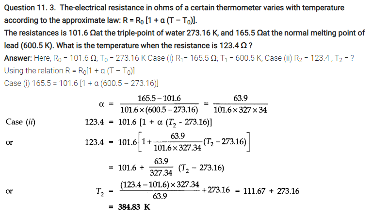 Thermal Properties of Matter Notes and NCERT Solution for class 11th