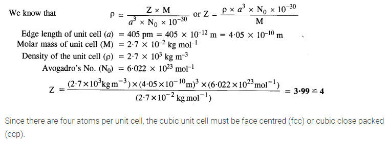 The Solid State NCERT Solution Class 12th Chemistry