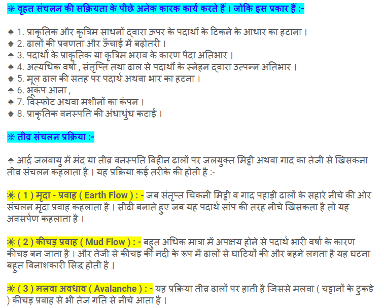 geography geomorphic processes notes in hindi and in english