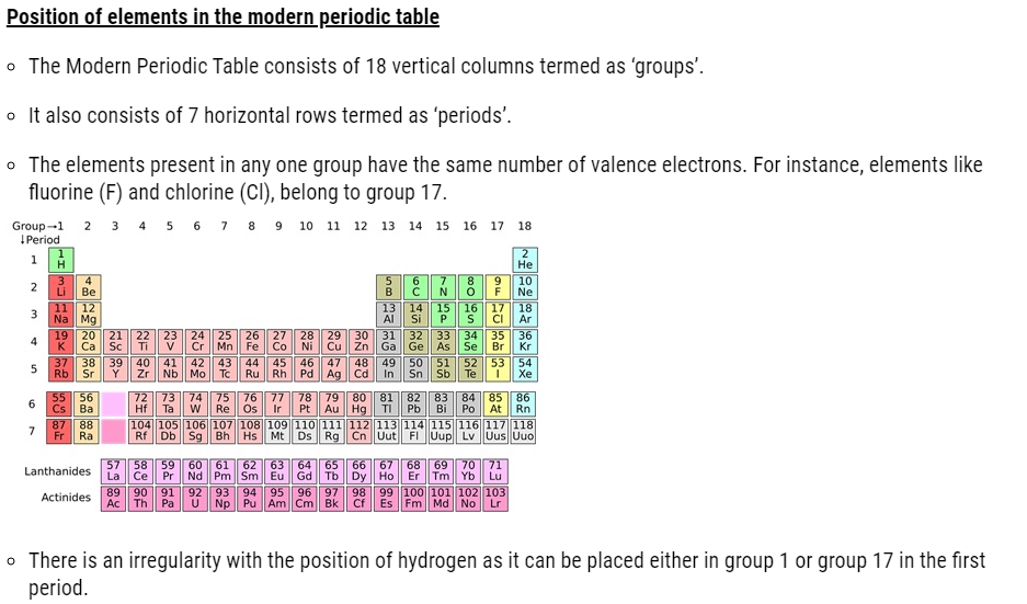 NCERT Solutions for Class 11 Chemistry Chapter 3 Classification of Elements and Periodicity in Properties. Class 11 Chemistry Notes